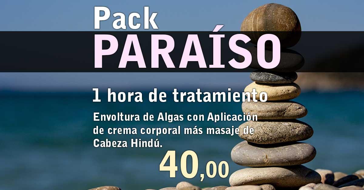 Pack Paraíso Envoltura de Algas con Aplicación de crema corporal más masaje de Cabeza Hindú
